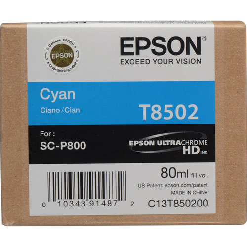 Epson T850 UltraChrome HD Ink Cartridge 80 ml- Cyan