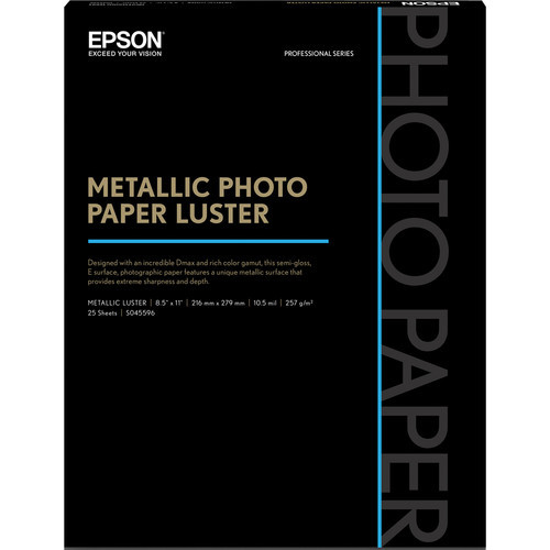 "Epson Metallic Photo Paper Luster - 8.5 x 11"", 25 Sheets"