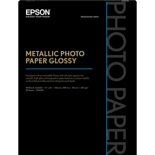 "Epson Metallic Photo Paper Glossy - 8.5 x 11"", 25 Sheets"