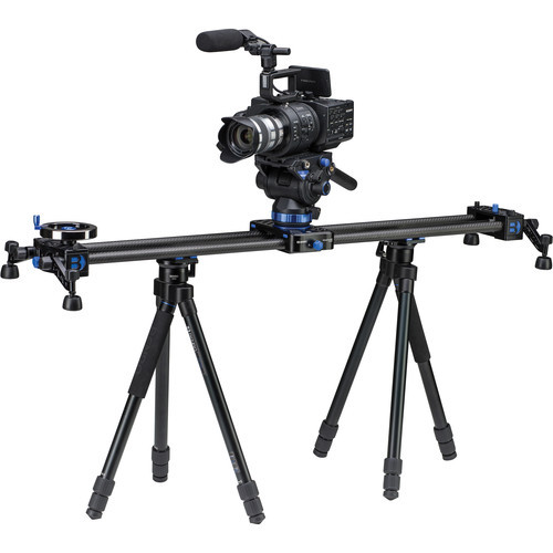 "Benro MoveOver12 35.4"" Dual Carbon Rail Slider Kit with Video Head & Tripods"