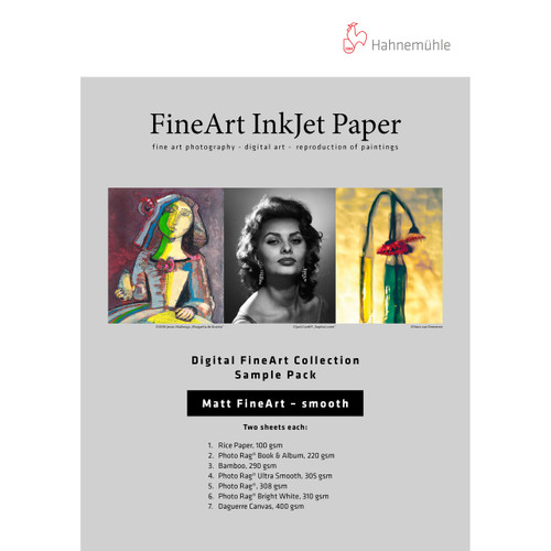 """Hahnemuhle Matte Smooth FineArt Inkjet Paper Sample Pack- 8.5 x 11"""", 12 Sheets"""