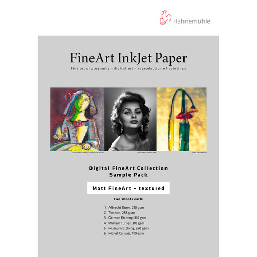 "Hahnemühle Matte FineArt Textured Inkjet Paper Sample Pack (2 sheets each 8.5 x 11"", 12 Sheets)"