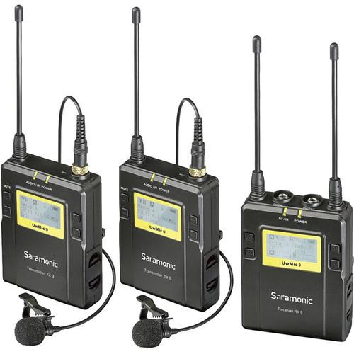 Saramonic UWMIC9 RX9 + TX9 + TX9, 96-Channel UHF Wireless Dual Lavalier Mic System (514 to 596 MHz)