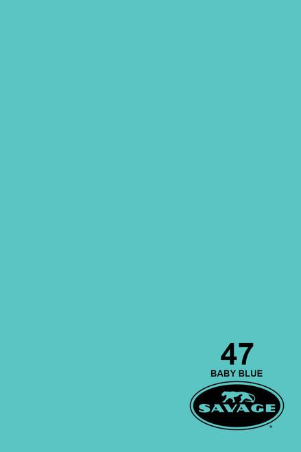 Savage Widetone Background Paper 107 Inch x 12 Yard Roll- #47 Baby Blue
