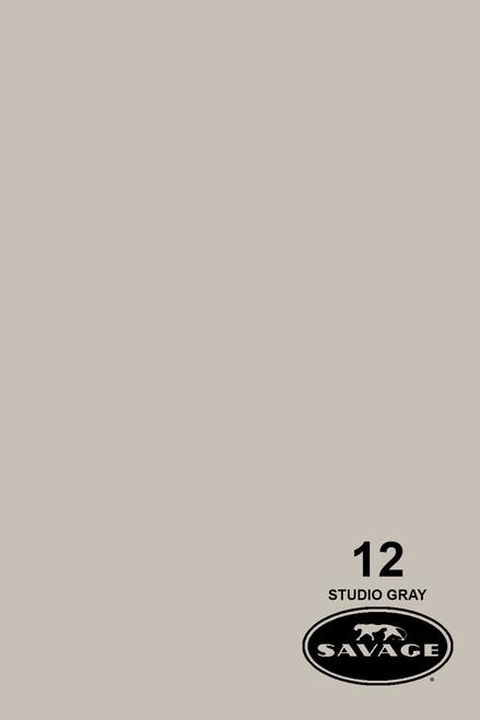 Savage Widetone Background Paper 107 Inch x 12 Yard Roll - #12 Studio Gray