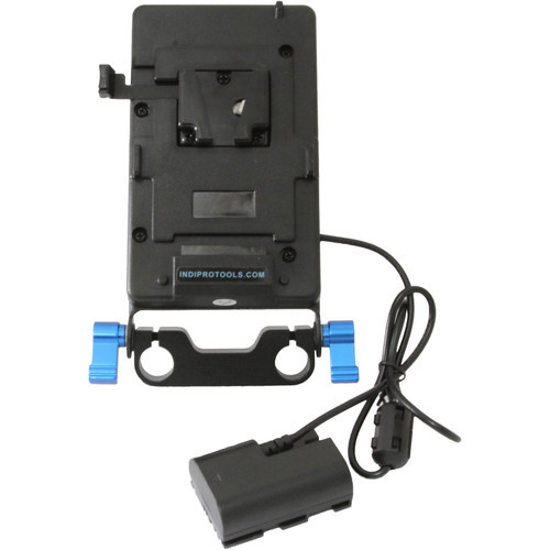 IndiPRO Tools V-Mount Plate with LP-E6 Dummy Battery- 15mm Rod Bracket