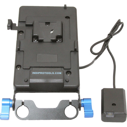 IndiPRO Tools V-Mount Plate with NP-FW50 Dummy Battery- 15mm Rod Bracket