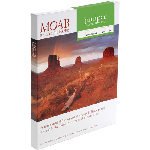 "Moab Juniper Baryta Rag 305 Paper- 13 x 19"", 25 Sheets"