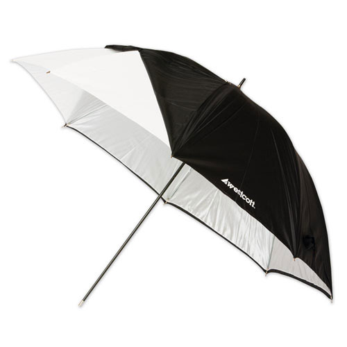 Westcott White Satin Umbrella with Removable Black Cover