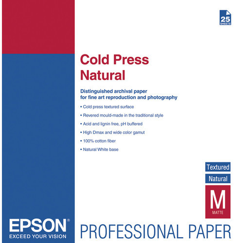 "Epson Cold Press Natural Paper - 17 x 22"", 25 Sheets"