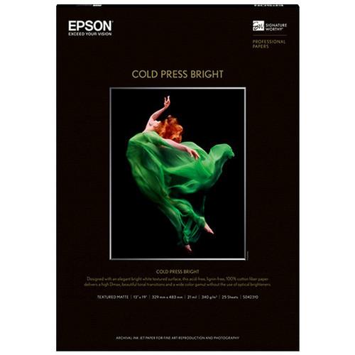 """Epson Cold Press Bright Paper - 17x22"""" 25 Sheets"""