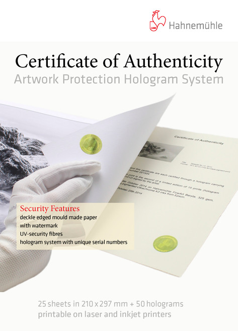 Hahnemühle Certificate of Authenticity & Hologram System