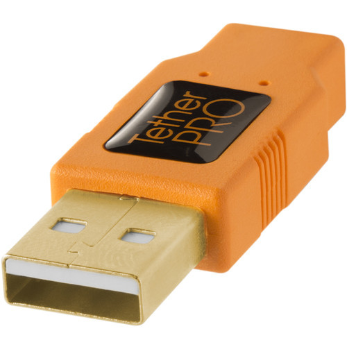 Tether Tools Orange TetherPro USB 2.0 A Male to Micro-B 5-Pin Cable - 15'