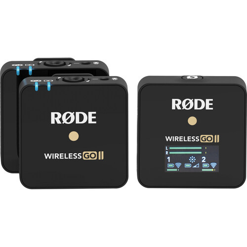 Rode Wireless GO II 2-Person Compact Digital Wireless 2.4 GHz Omni Lavalier Microphone System/Recorder Kit - Black