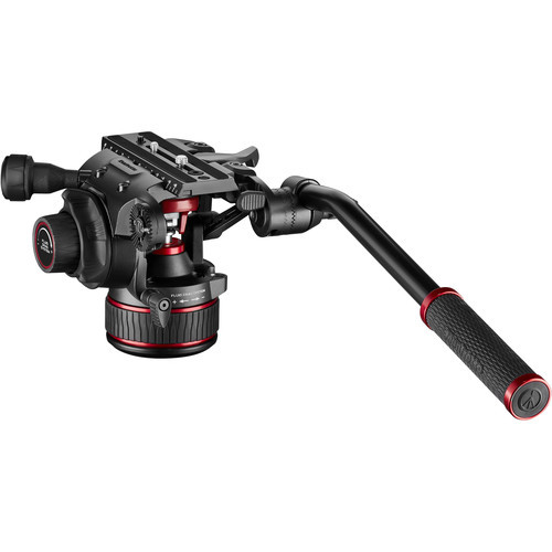 Manfrotto 608 Nitrotech Fluid Video Head and Carbon Fiber Twin Leg Tripod with Middle Spreader