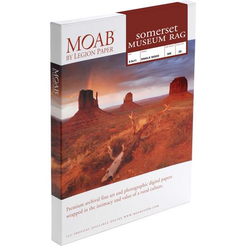 "Moab Somerset Museum Rag 300 Paper- 8.5 x 11"", 25 Sheets"