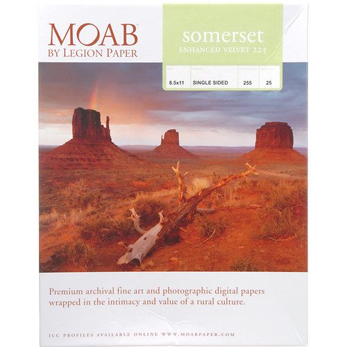 "Moab Somerset Enhanced Velvet 225 Paper- 8.5 x 11"", 25 Sheets"