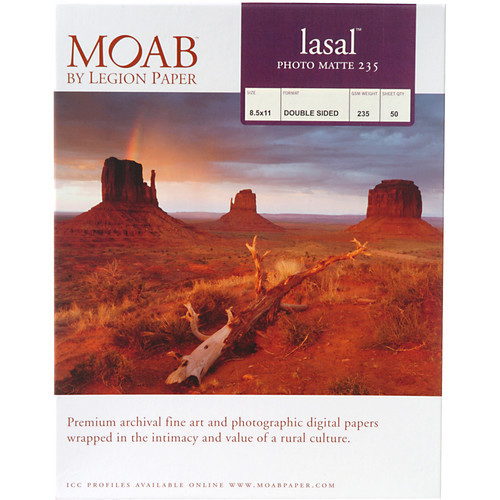 "Moab Lasal Photo Matte 235 Paper- 8.5 x 11"", 50 Sheets"