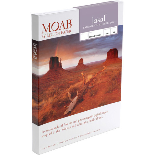 """Moab Lasal Exhibition Luster 300 Paper- 13 x 19"""", 50 Sheets"""