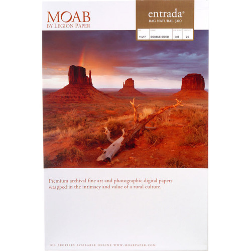 "Moab Entrada Rag Natural 300 Paper- 11 x 17"", 25 Sheets"