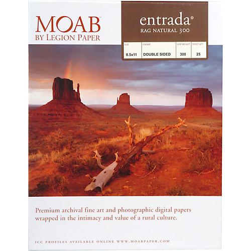 "Moab Entrada Rag Natural 300 Paper- 8.5 x 11"", 25 Sheets"