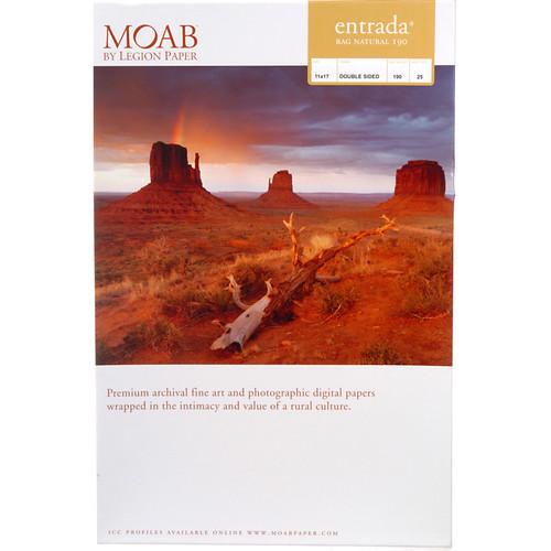 "Moab Entrada Rag Natural 190 Paper- 11 x 17"", 25 Sheets"