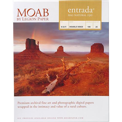 "Moab Entrada Rag Natural 190 Paper- 8.5 x 11"", 25 Sheets"