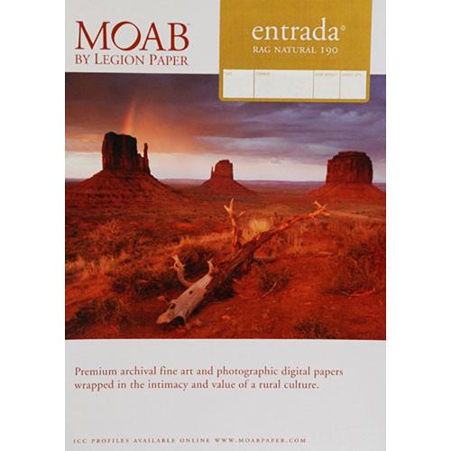 "Moab Entrada Rag Natural 190 Paper- 5 x 7"", 25 Sheets"