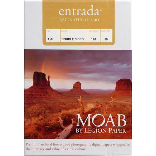 "Moab Entrada Rag Natural 190 Paper- 4 x 6"", 50 Sheets"