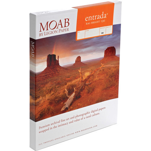"Moab Entrada Rag Bright 190 Paper- 11 x 17"", 25 Sheets"
