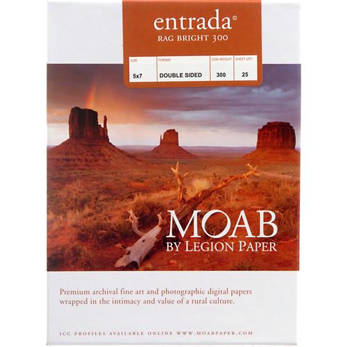 "Moab Entrada Rag Bright 300 Paper- 5 x 7"", 25 Sheets"