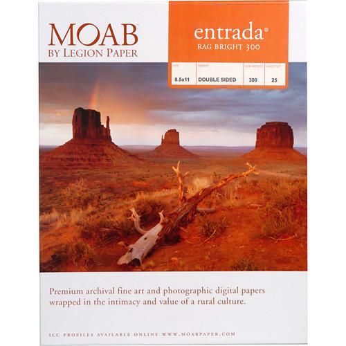 "Moab Entrada Rag Bright 300 Paper- 8.5 x 11"", 25 Sheets"