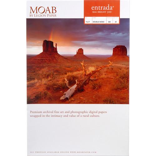 "Moab Entrada Rag Bright 300 Paper- 11 x 17"", 25 Sheets"