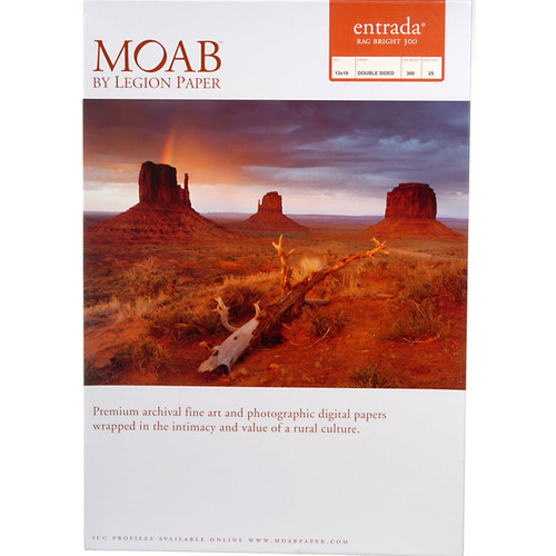 "Moab Entrada Rag Bright 300 Paper- 13 x 19"", 25 Sheets"