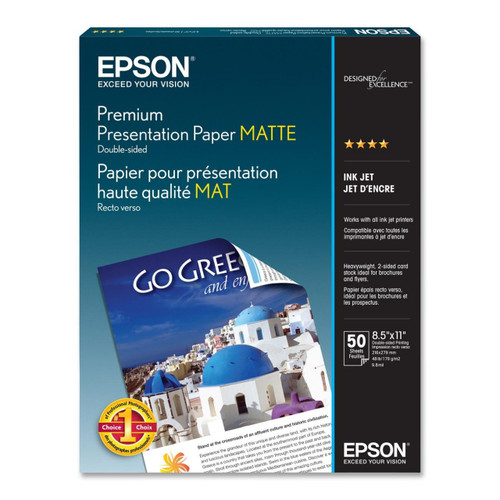"Epson Premium Presentation Paper Matte Double-Sided- 8.5 x 11"", 50 Sheets"