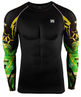 Green &Black Unique Jiujitsu MMA BJJ CROSS Training Rashguard