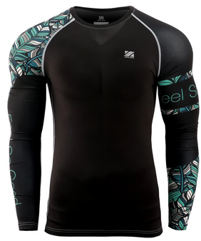 Green leaf pattern design Surf Compression Top Long Sleeves