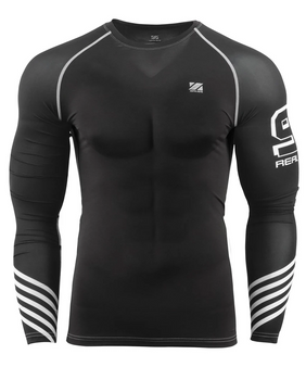 Black&White Line Design Compression Long Sleeve Gym Shirt