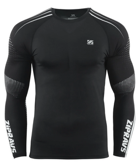 Black &White Dot Design Rashguard Sports Compression Tee Shirt