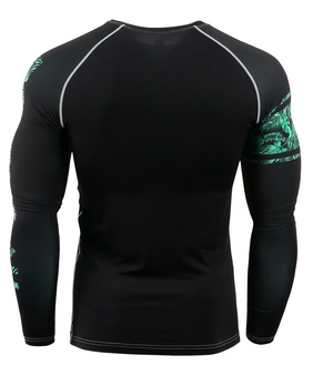 Green Leaf Pattern Design Running Workout Compression Shirt
