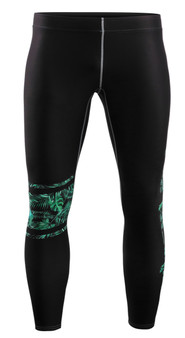 Green Leaf Pattern Design Compression Pants For Weightlifting
