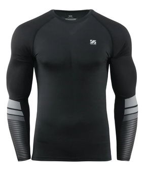 Black Mens Compression Shirt Long Sleeve