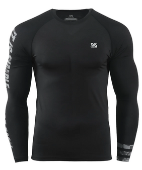 Black camo pattern design performance compression bjj shirt