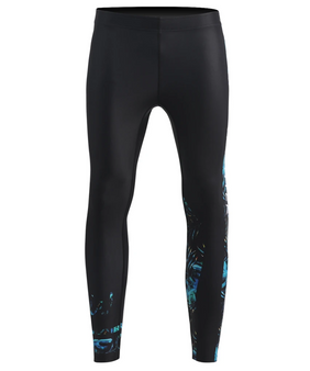 Blue leaf pattern design  BJJ tights compression gear