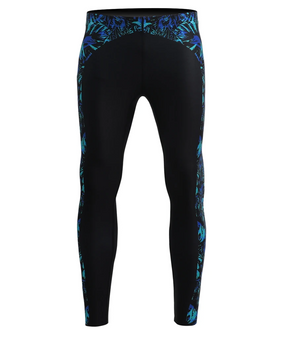 Blue leaves pattern design workout compression tights gear