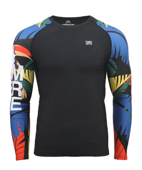colorful&toucan design men's long sleeve swim shirt rash guard