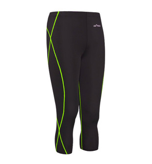 emfraa green stitching black 3 quarter capri yoga workout pants