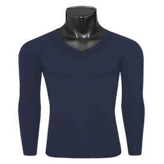 emfraa thermal base layer v-neck navy shirt