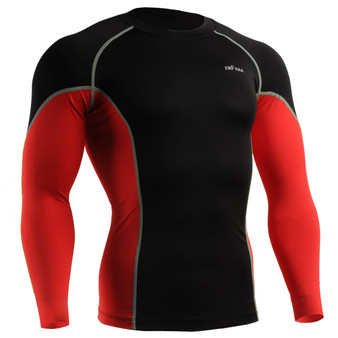 emfraa compression skin tight shirt black-red