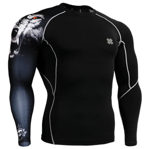 Fixgear compression skin tight wolf printed base layer black t shirt